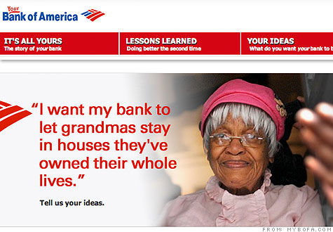 A page from YourBofA.com asks visitors for their ideas on building a better bank.