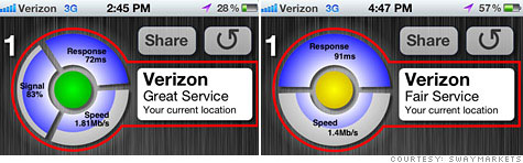 CarrierCompare's first version (left) was pulled from Apple's iTunes App Store for displaying signal strength. The new version took that feature out.
