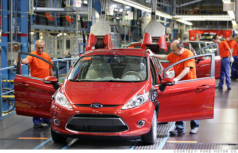 A Ford Fiesta rolls off the assembly line at Ford's Cologne-Niehl plant in Germany. Losses in Europe have become the biggest problem for U.S. automakers.
