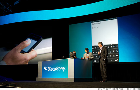 RIM CEO CEO Thorsten Heins showed off the company's long-delayed BlackBerry 10 platform.