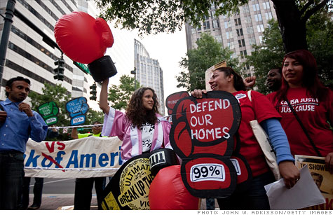 Hundreds of protesters gathered outside Bank of America's headquarters in Charlotte for the shareholders' meeting.