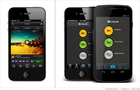 Color (left) and Viddy are two contenders in the crowded video-sharing app field.