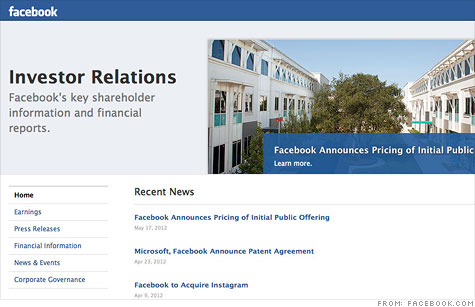 Facebook's own investor relations site is surprisingly dull and lacks many of the social features that appeal to its more than 900 million users.