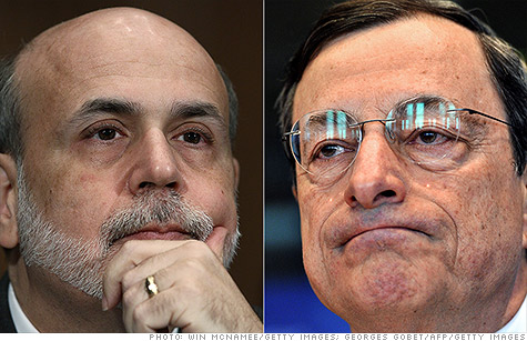 Investors are hoping the Fed's Ben Bernanke and ECB's Mario Draghi will ride to the rescue.