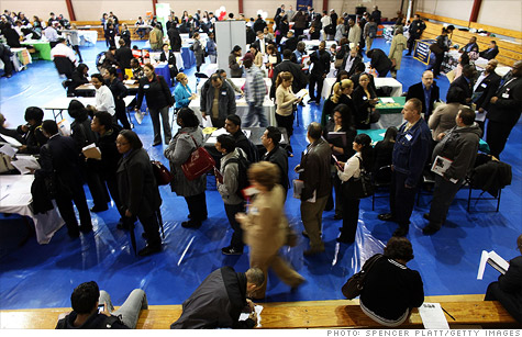 Job seekers at a recent jobs fair in New York City.