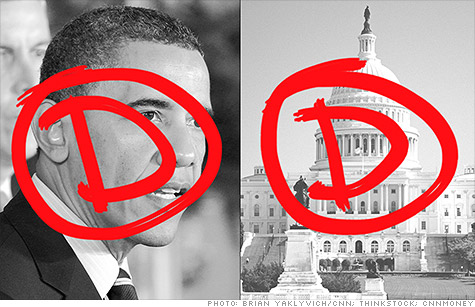 Economists surveyed by CNNMoney gave poor grades to the Obama administration on handling economy, but his critics in Congress fared even worse.