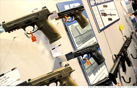 Smith & Wesson stock surged after gun maker reports strong earnings, driven by sales of compact polymer guns.