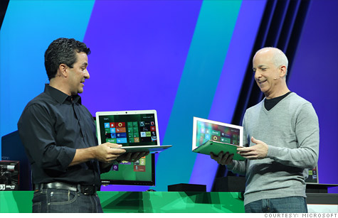 Microsoft executives Mike Angiulo (left) and Steven Sinofsky showed off an early version of Windows 8 at Microsoft's Build conference.