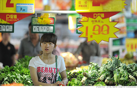 China's annual inflation rate fell to TK% in June, as food prices fell.