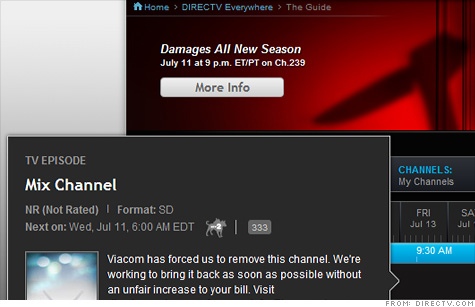 DirecTV's online channel guide tells customers that Viacom 'forced us to remove' its channels.