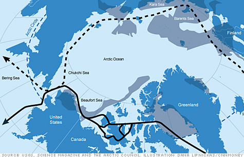 A rush to extract natural resources from the Arctic Ocean is heating up as global warming makes more and more of it accessible. Click to expand this map highlighting major oil and gas fields and the two main Arctic shipping routes.