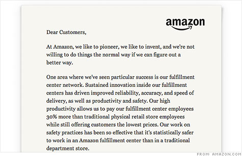 Amazon CEO Jeff Bezos wrote a letter on the company's homepage to announce a new Career Choice Program for its warehouse employees.