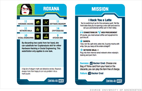 Control-Alt-Hack is a game for high schoolers and college students designed to teach them about cybersecurity in a lighthearted way.