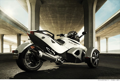 More stable and easier to handle than traditional two-wheelers, three-wheelers -- like the Can-Am Spyder RS (above) -- are catching on.