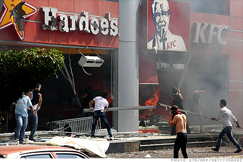 franchises pakistan wake anti-american protests kfc restaurants attacked lebanon week
