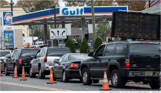 gas lines shortage hurricane sandy