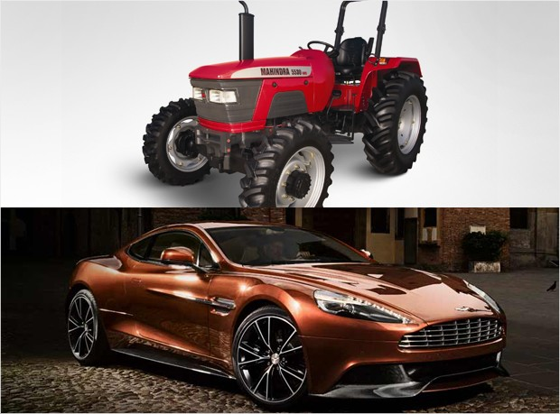 mass market vs luxury - mahindra tractor aston martin vanquish
