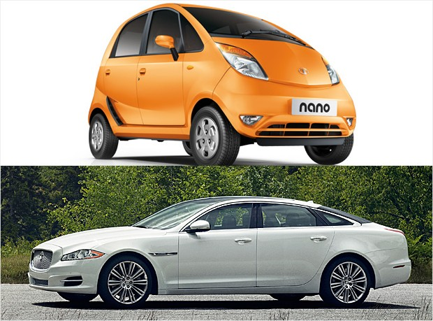 mass market vs luxury - tata nano jaguar xj