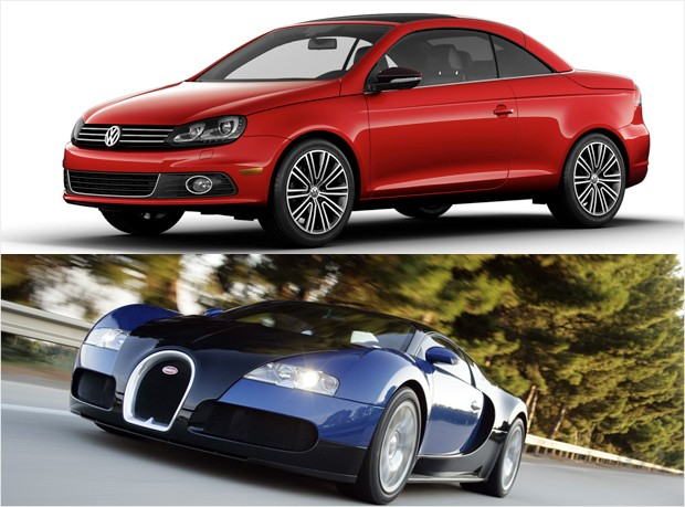 mass market vs luxury - vw eos bugatti veyron