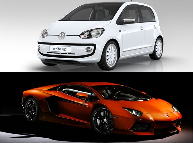 mass market vs luxury - vw up lamborghini aventador