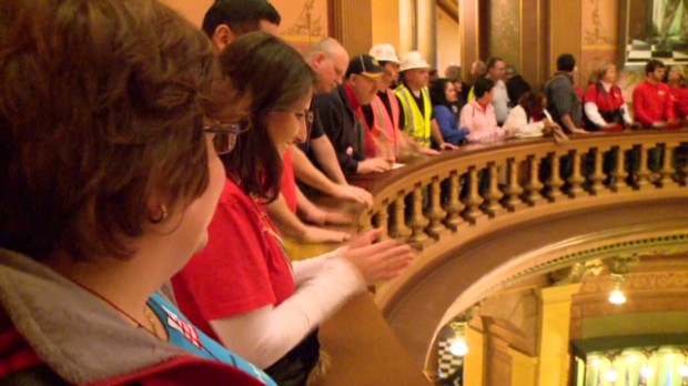 Protesting workers swarm Michigan capitol