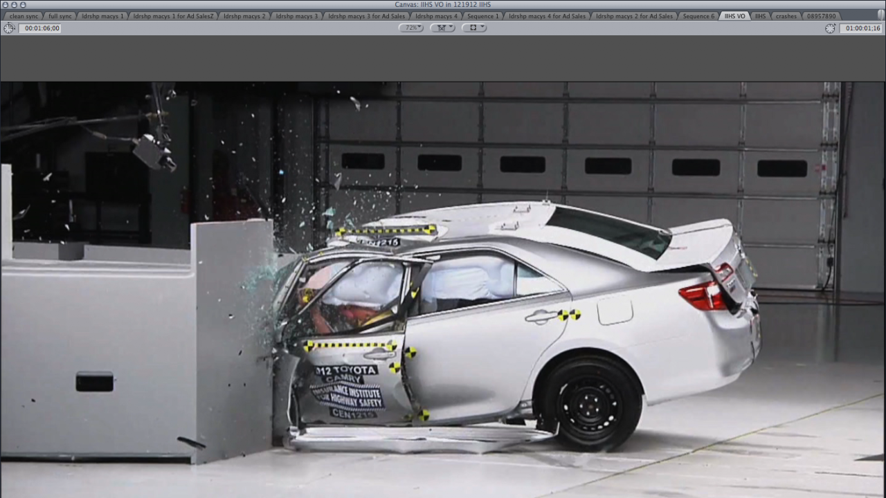 camry performs poorly in new crash test video personal finance. Black Bedroom Furniture Sets. Home Design Ideas