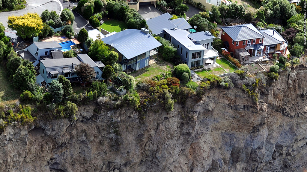luxury houses on cliff