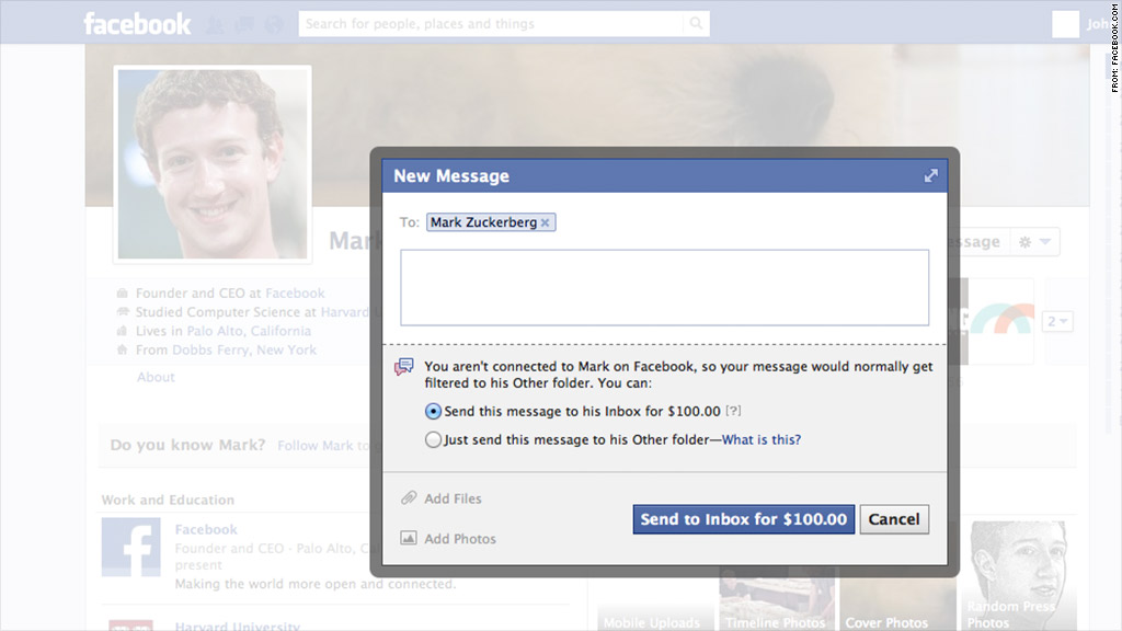 Facebook charges $100 to message Mark Zuckerberg