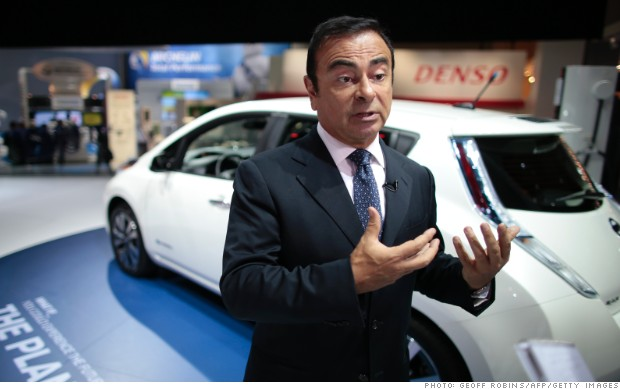 carlos ghosn nissan leaf naias