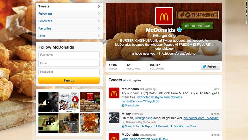 burger king twitter hacked mcdonalds