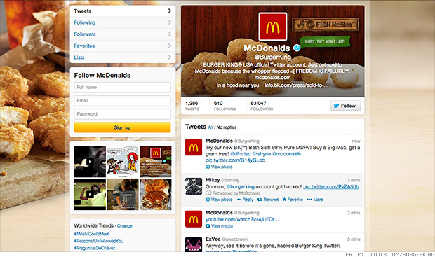 burger king twitter hacked mcdonalds