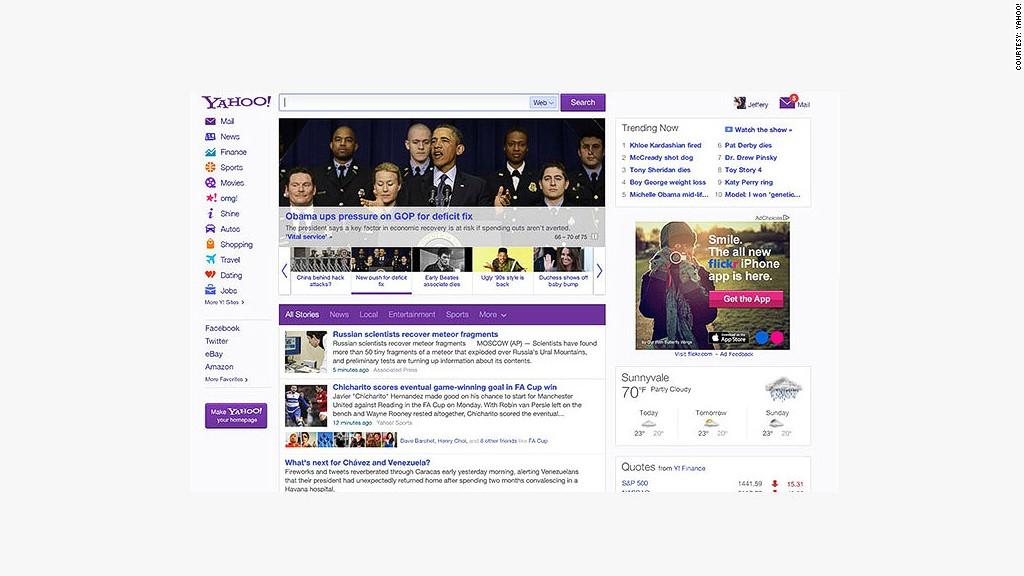 yahoo new homepage 2013