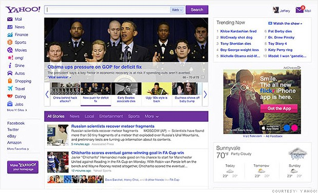 yahoo new homepage 2013