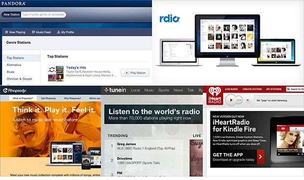 streaming music pandora rhapsody