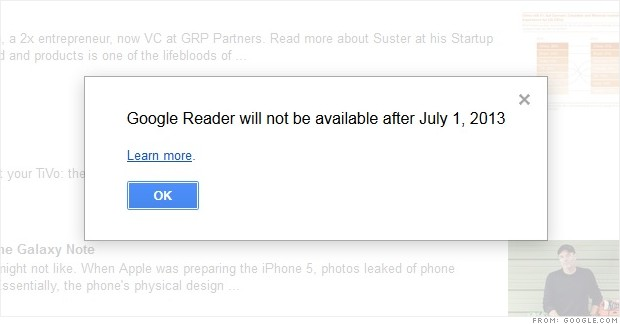 google reader to shut down mar 14 2013 google shutting down google reader about 1 july element of cleaning initiative 620x324