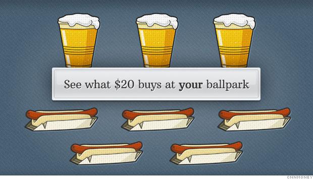 baseball hotdog beer