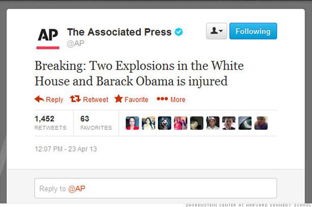 Un tuit falso sobre una explosión en la Casa Blanca sacude los mercados