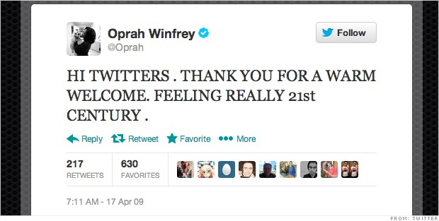 first tweet oprah winfrey