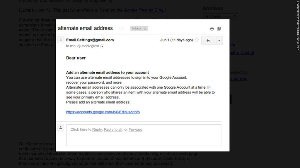 google iran phishing