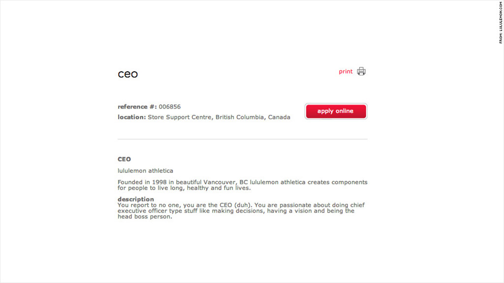 Lululemon'S Fake Ceo Job Posting Gets 160 Applications - Jun. 14, 2013