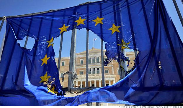 greece eu flag burned