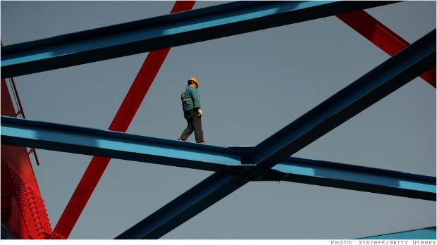 construction worker helps build a hi-speed rail line in China. The ...