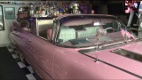Florida home with a pink Cadillac bar