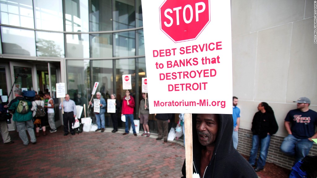detroit protest pensions