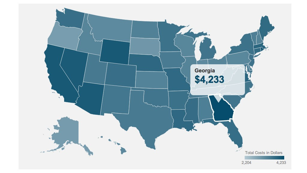 car ownership costs map