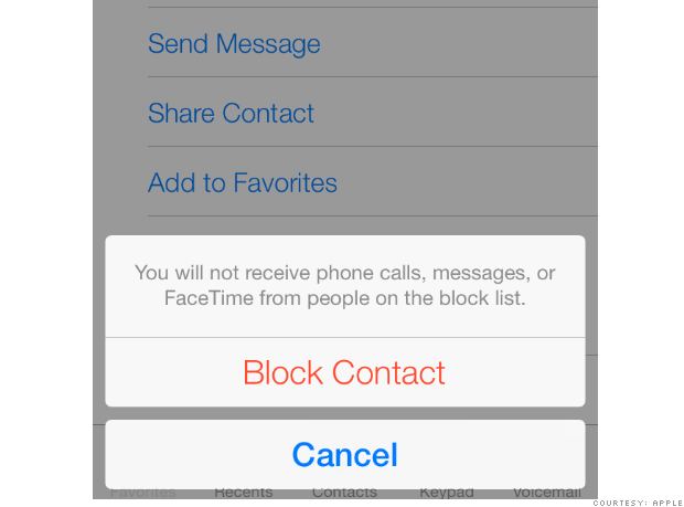 ios7 Contact blocking