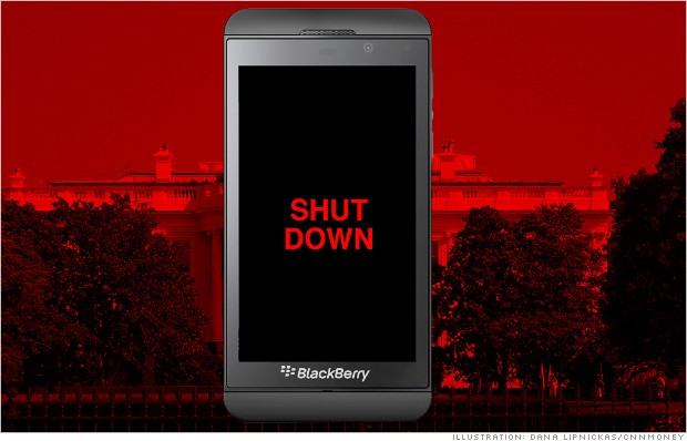 blackberry shutdown government workers