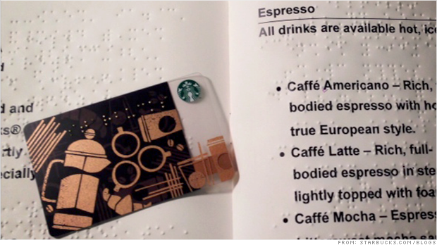 starbucks braille gift card
