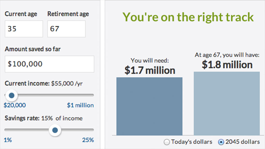 Retirement Calculator Screen