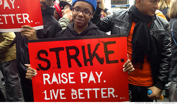 Fast food worker paid to protest